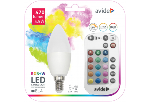 Smart LED Candle 5.5W RGB+W with IR remote